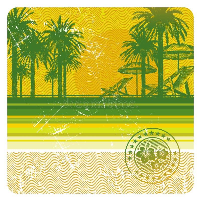 Playa tropical con las palmas, la silla y el paraguas libre illustration