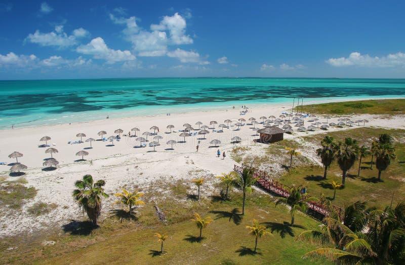 Playa tropical del Caribe de la arena de la turquesa en Varadero Cuba foto de archivo libre de regalías