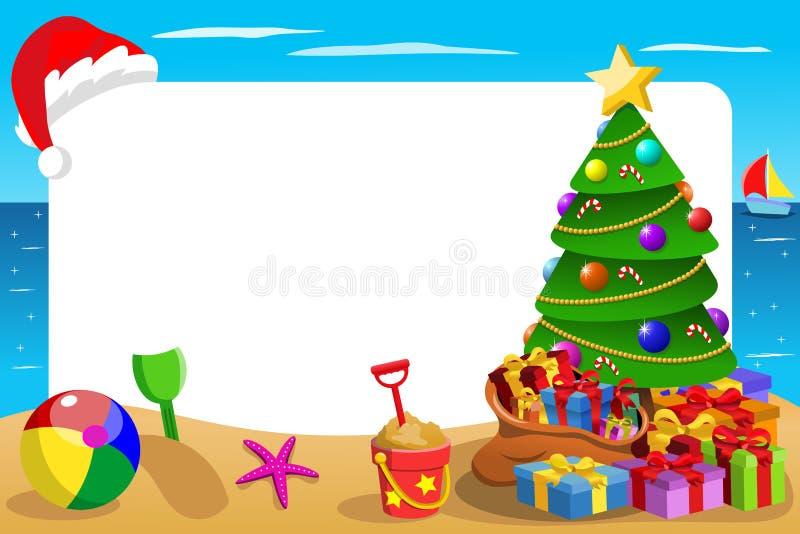 Playa tropical del marco horizontal de Navidad con la ejecución del sombrero de la Navidad libre illustration