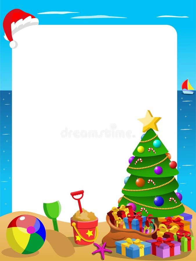 Playa tropical del marco vertical de Navidad con la ejecución del sombrero de la Navidad libre illustration