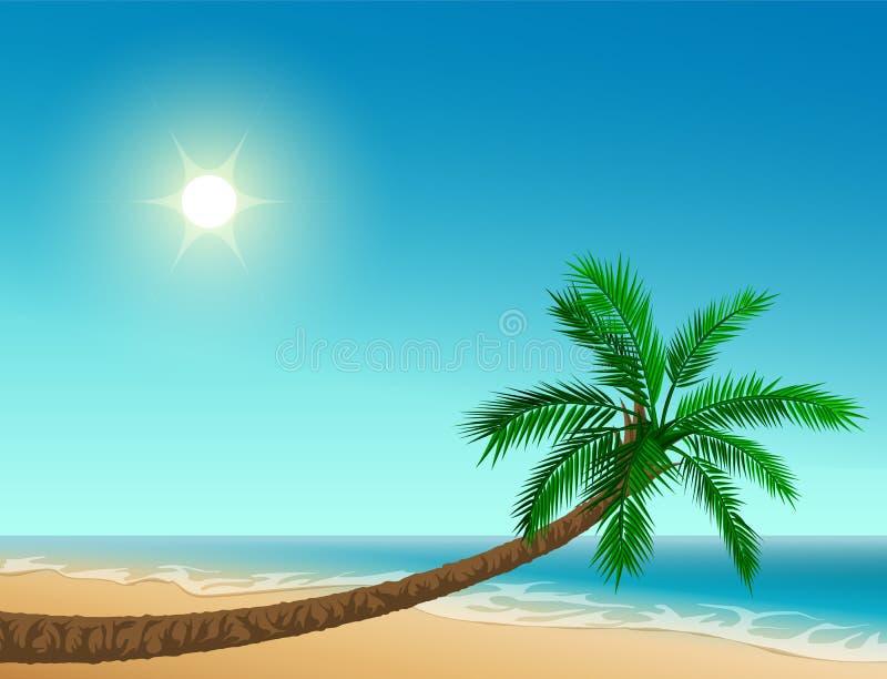 Playa tropical del paraíso Palmera inclinada, cielo claro, sol, mar y arena libre illustration