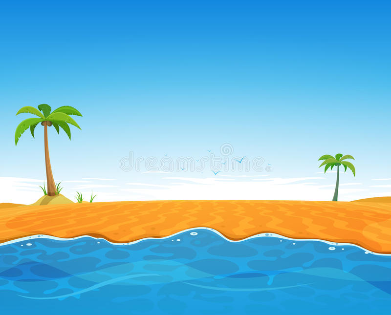 Playa tropical del verano stock de ilustración