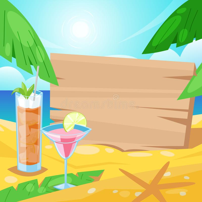 Playa tropical del verano, bebidas del alcohol y tablero de madera con el lugar para el texto en la arena Ejemplo de la barra del stock de ilustración
