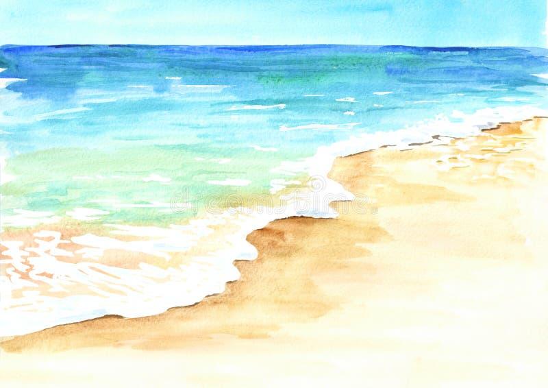 Playa tropical del verano con la arena y la onda de oro Ejemplo dibujado mano de la acuarela ilustración del vector