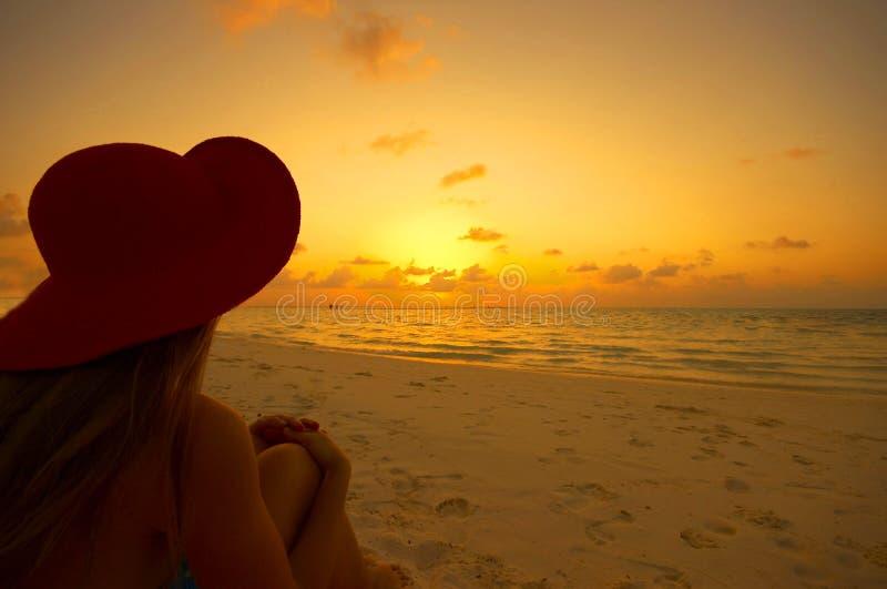Playa tropical en la puesta del sol fotos de archivo