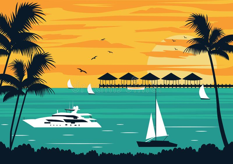 Playa tropical en las islas stock de ilustración