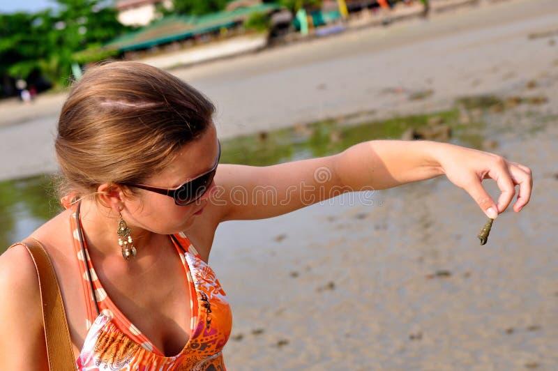 Playa tropical, encontrando un shell en Krabi, Tailandia imagen de archivo
