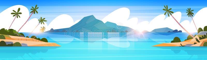 Playa tropical hermosa del verano del paisaje de la playa con la bandera horizontal de las montañas de la palmera y de la silueta stock de ilustración