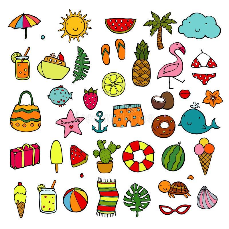 Playa, vacaciones, y concepto de la reconstrucción Objetos del icono del verano Iconos dibujados mano del estilo del garabato fij ilustración del vector