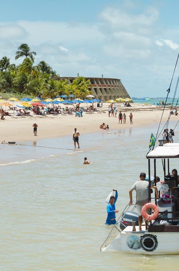 Playa y hotel de Tambau, Joao Pessoa Brazil imagen de archivo