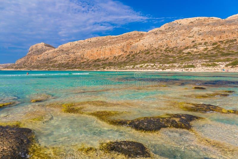 Playa y laguna, prefectura de Chania, Creta del oeste, Grecia de Balos imagen de archivo