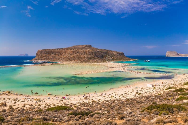 Playa y laguna, prefectura de Chania, Creta del oeste, Grecia de Balos fotografía de archivo