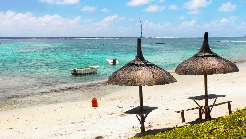 Playa y laguna tropicales, Mauritius Island foto de archivo libre de regalías