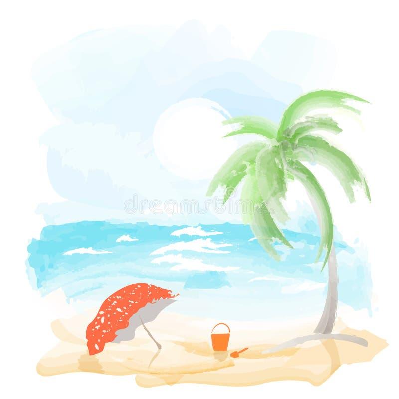 Playa y mar stock de ilustración
