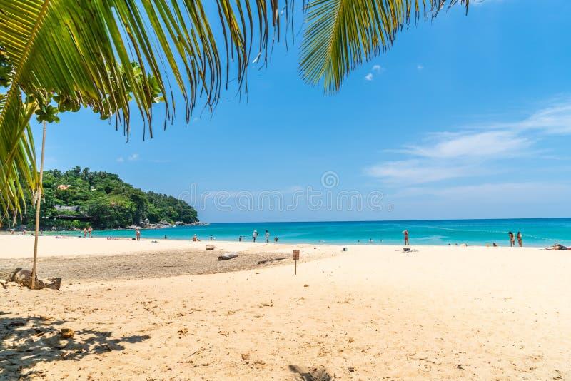 Playa y mar tropicales hermosos con la palmera del coco en la isla del paraíso foto de archivo