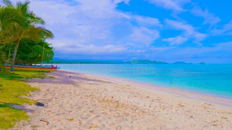 Playa y mar tropicales Vista de la playa tropical agradable con las palmas alrededor Concepto del día de fiesta y de las vacacion foto de archivo