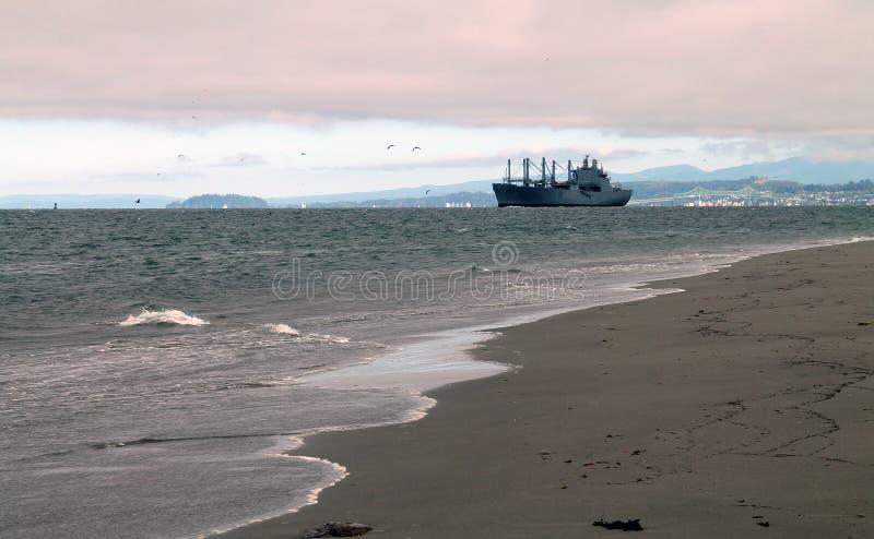 Playa y ondas con el carguero en la distancia foto de archivo libre de regalías