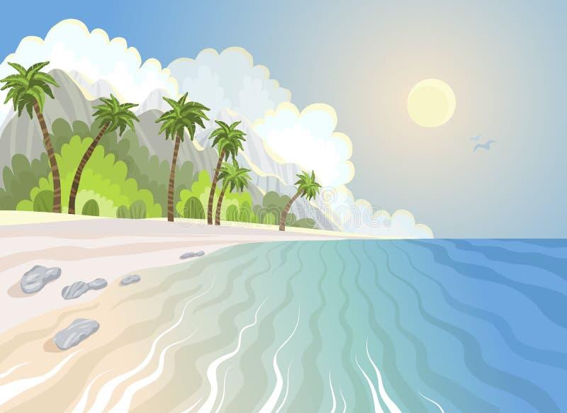 Playa y palmeras del paraíso del verano en la costa ilustración del vector