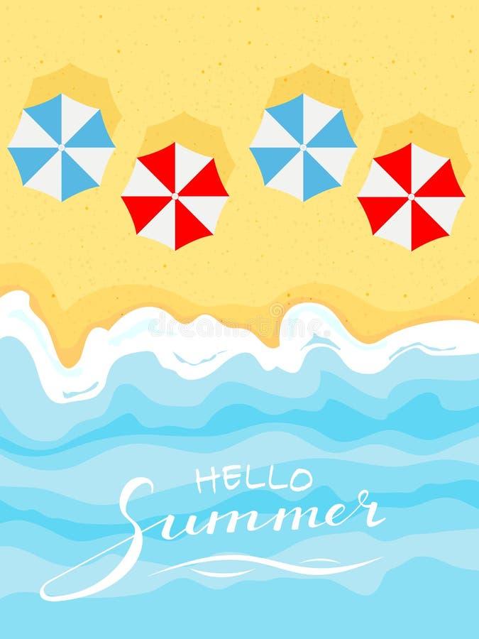 Playa y paraguas del verano libre illustration