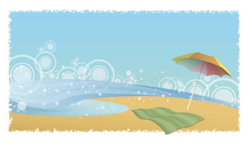 Playa y parasol ilustración del vector