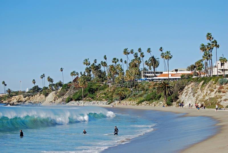 Playa y parque principales en el Laguna Beach, California de Heisler fotos de archivo