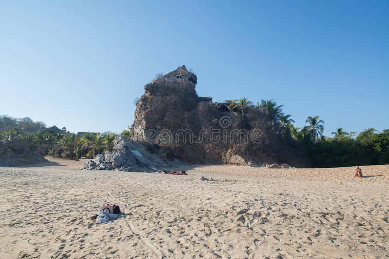 Playa Zipolite, beach in Mexico. Puerto Escondido, Mexico, circa feb. 2017: Playa Zipolite, beach community in San Pedro Pochutla municipality on the southern royalty free stock image