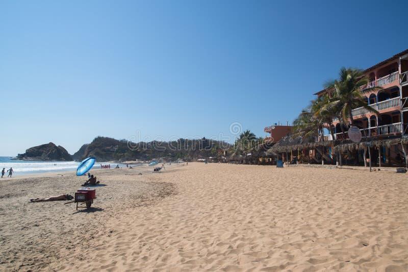 Playa Zipolite, strand i Mexico arkivfoton
