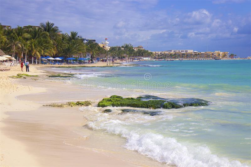 Playa del Carmen beach, Mexico. Playacar and Playa del Carmen beach, Mexico stock photo