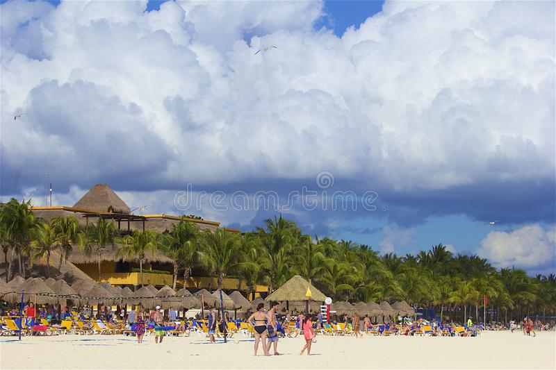 Playa del Carmen beach, Mexico. Playacar and Playa del Carmen beach, Mexico royalty free stock photography