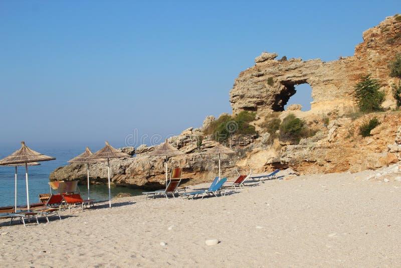 Playas asombrosas de Dhermi, Albania fotografía de archivo