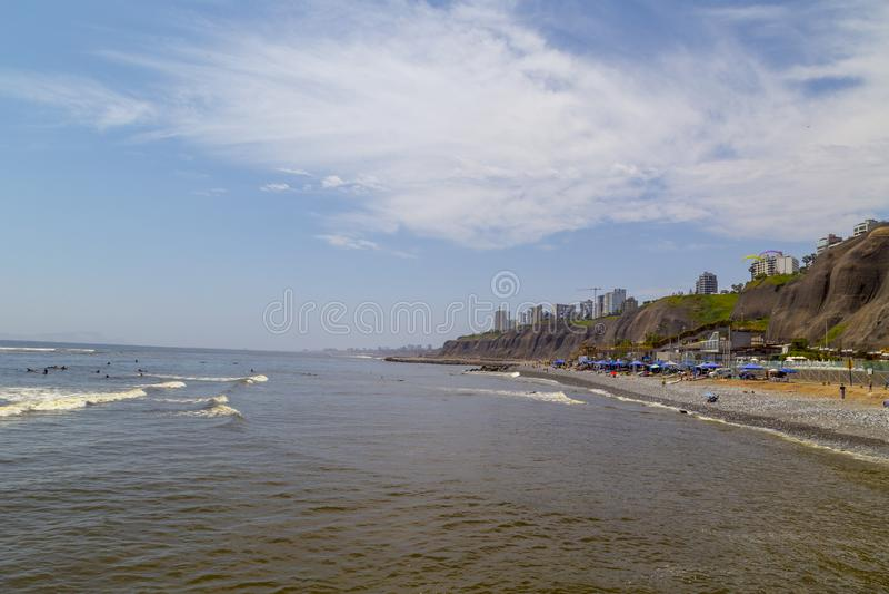 Playas, vista panorámica de Lima de Miraflores, Perú imagen de archivo