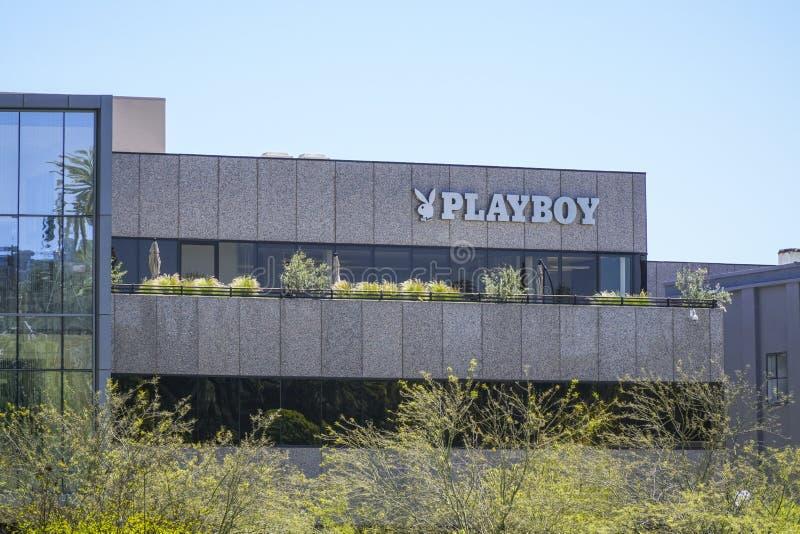 Playboyhögkvarter i Beverly Hills Los Angeles - LOS ANGELES - KALIFORNIEN - APRIL 20, 2017 arkivbild