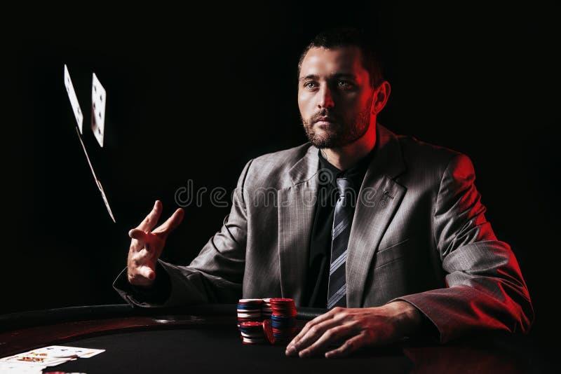 Player emocional do pôquer das estacas altas fotos de stock royalty free