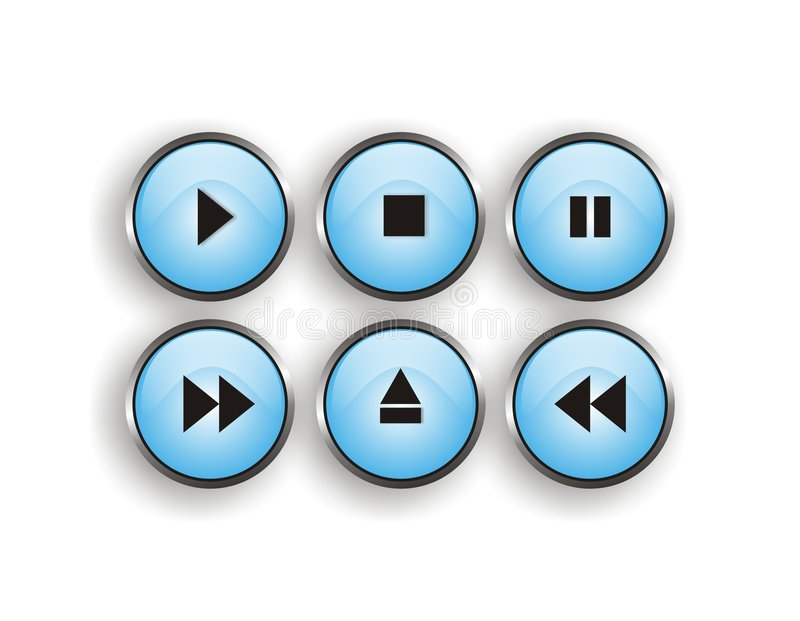 Download Player button stock vector. Image of media, blue, pause - 3607747