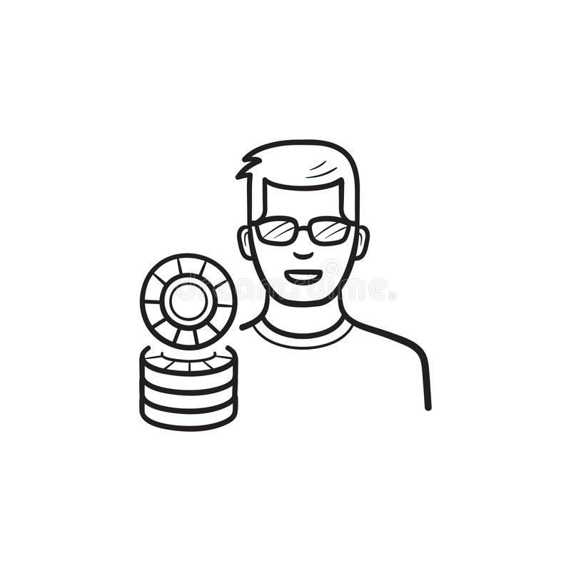 Player and casino chips hand drawn outline doodle icon. Casino player, casino game, gambling concept. Vector sketch illustration for print, web, mobile and royalty free illustration