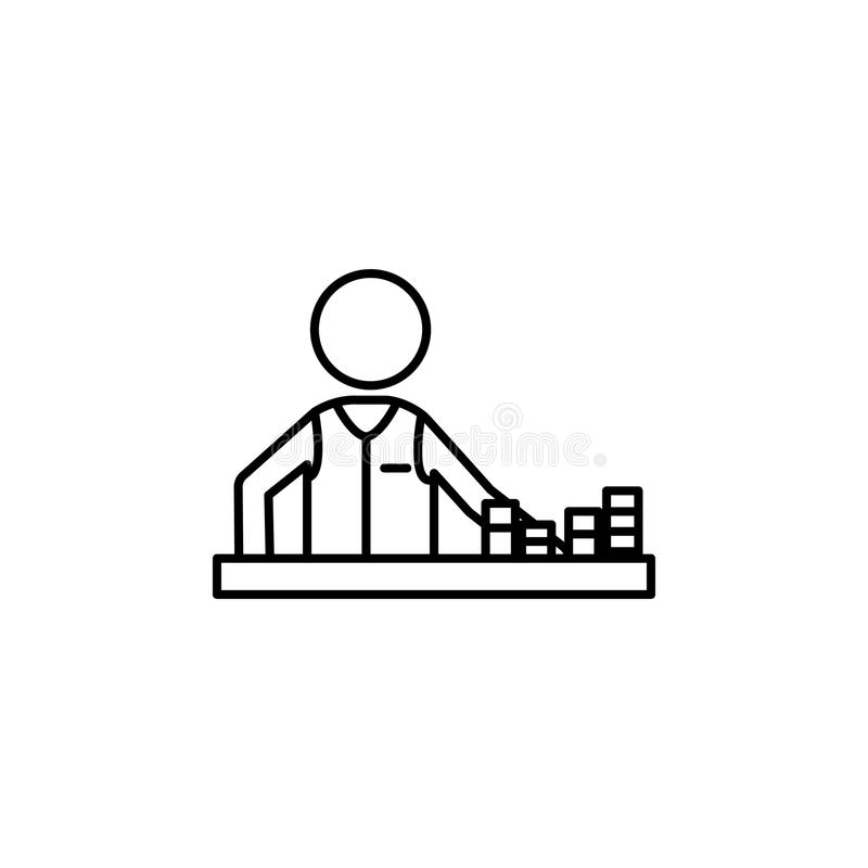 Player in a casino with chips icon. Element of casino for mobile concept and web apps. Thin line icon for website design and deve. Lopment, app development royalty free illustration