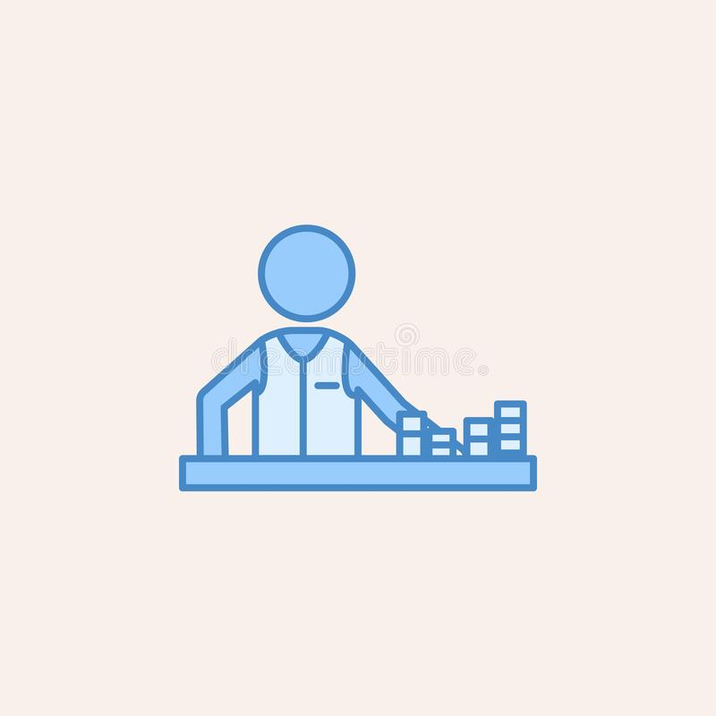 Player in a casino with chips icon. Element of casino icon for mobile concept and web apps. Field outline player in a casino with. Chips icon can be used for royalty free illustration
