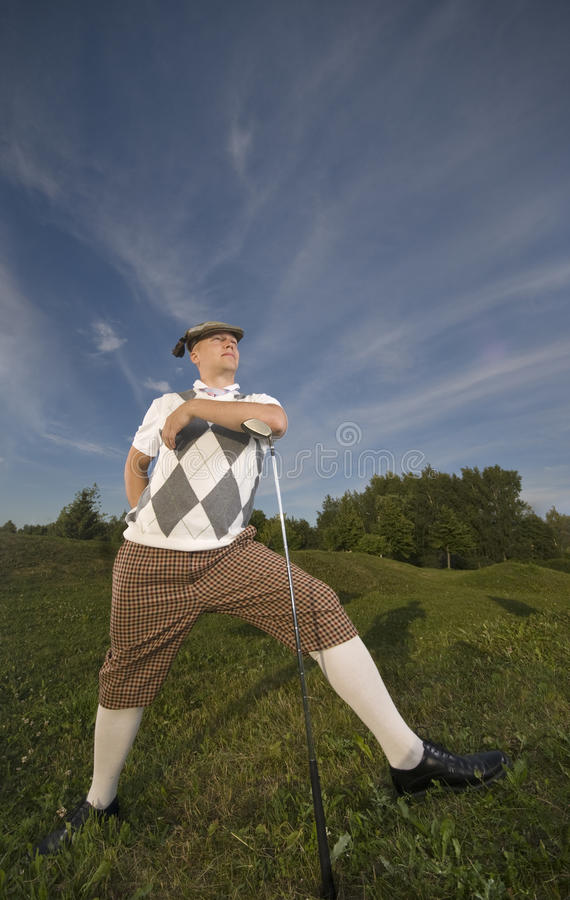 Player enjoys the outdoors. stock image