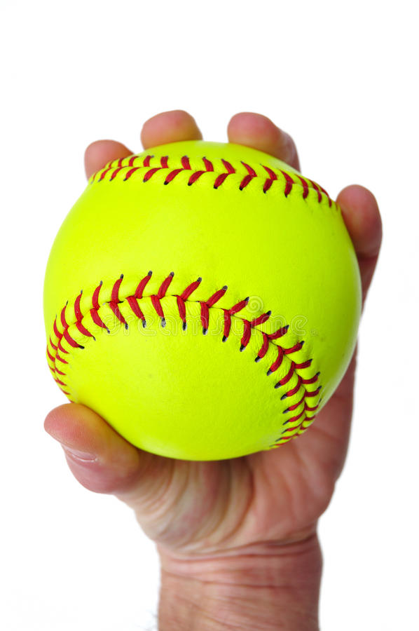 Download Player Gripping A Yellow Softball Stock Photo - Image: 13443400