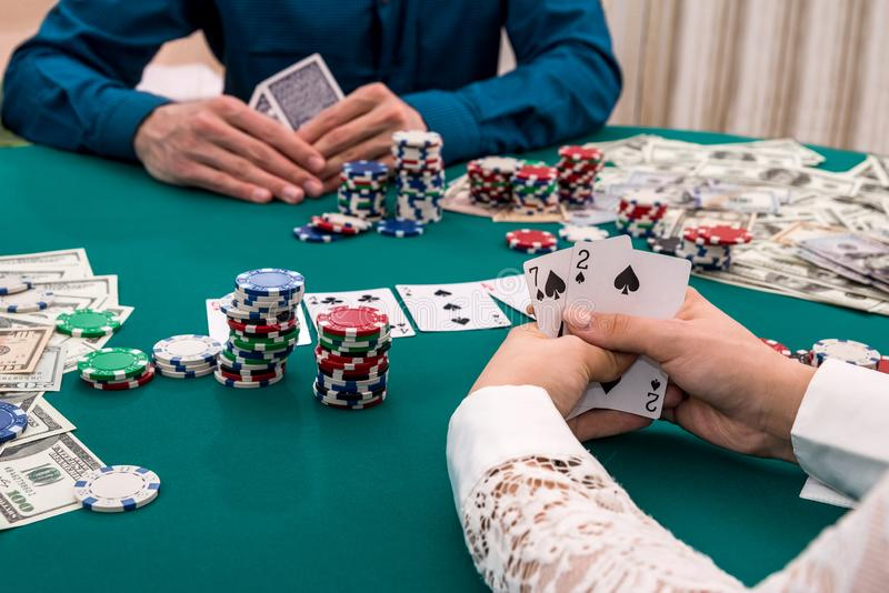Player hands with card combination, casino, gambling royalty free stock photography