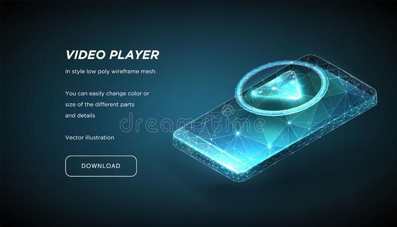Player Icon and Smartphone of the low poly wireframe on dark background.Concept of online video or training or education. stock illustration