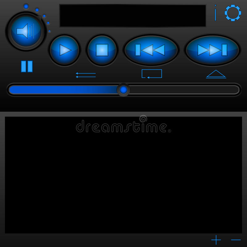 Download The Player Interface With Blue Buttons And A Brill Stock Vector - Image: 34230343