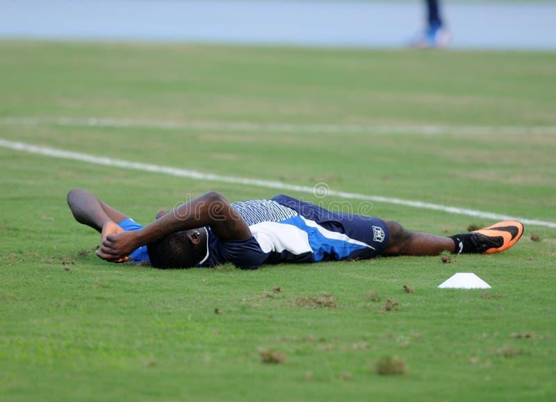 Player Mario Balotelli. Rio de Janeiro - Brazil  Italia national team player Mario Balotelli trains for World Cup stock photo