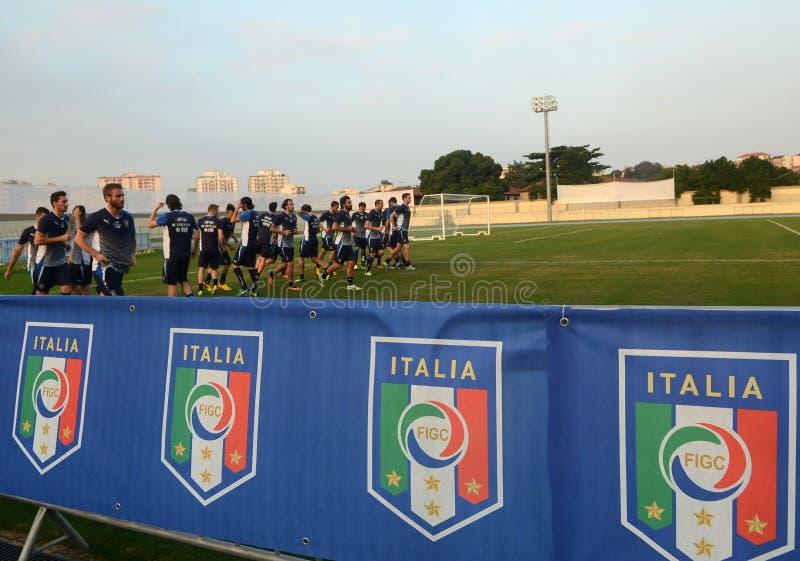 Player Mario Balotelli. Rio de Janeiro - Brazil  Italia national team player Mario Balotelli trains for World Cup stock images