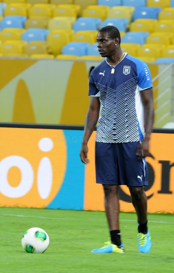 Player Mario Balotelli. Rio de Janeiro - Brazil  Italia national team player Mario Balotelli trains for World Cup stock photos