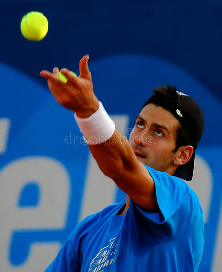 Player Novak Djokovic served a ball. Serbia Open ATP 250-Belgrade 2009 Novak Djokovic(SRB) practice before semi final duel against Andreas Seppi(ITA) Novak stock images