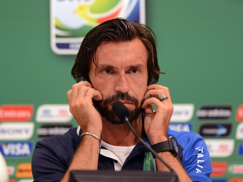 Player Pirlo. Rio de Janeiro - Brazil  Italia national team player Pirlo  trains for World Cup stock photos