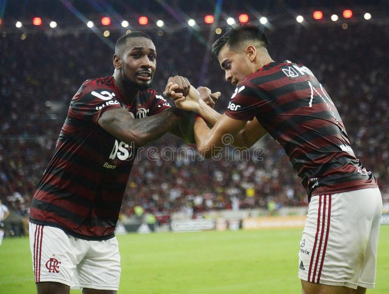 Player Reinier do Flamengo celebrates his goa stock photography