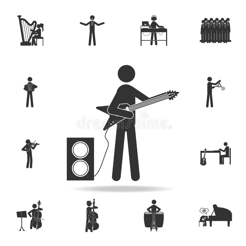 Player Rock Band Star Electric guitar icon, mobile. Detailed set of music icons. Premium quality graphic design. One of the collec royalty free illustration