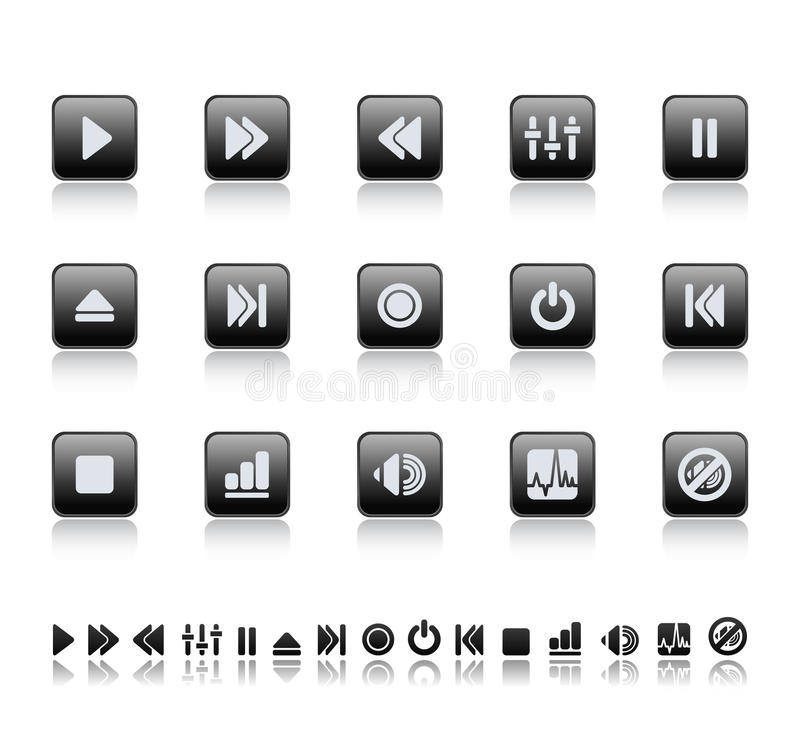 Player and sound icons vector illustration